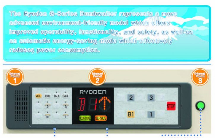 Thang tải thức ăn Ryoden Dumbwaiter G-Series Mitsubishi - TLE Group - Đại lý cung cấp thang máy Mitsubishi chính hãng