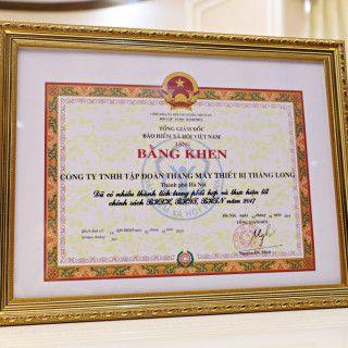 Tập đoàn Thang máy Thiết bị Thăng Long vinh dự đón nhận Bằng khen của Tổng Giám đốc Bảo hiểm xã hội Việt Nam